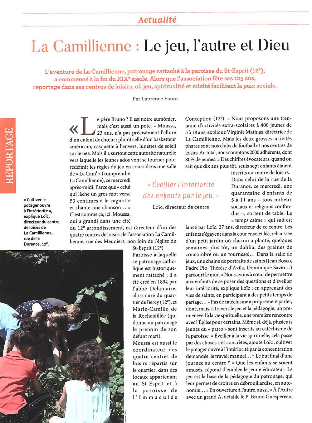 Reportage sur La Camillienne dans Paris Notre-Dame