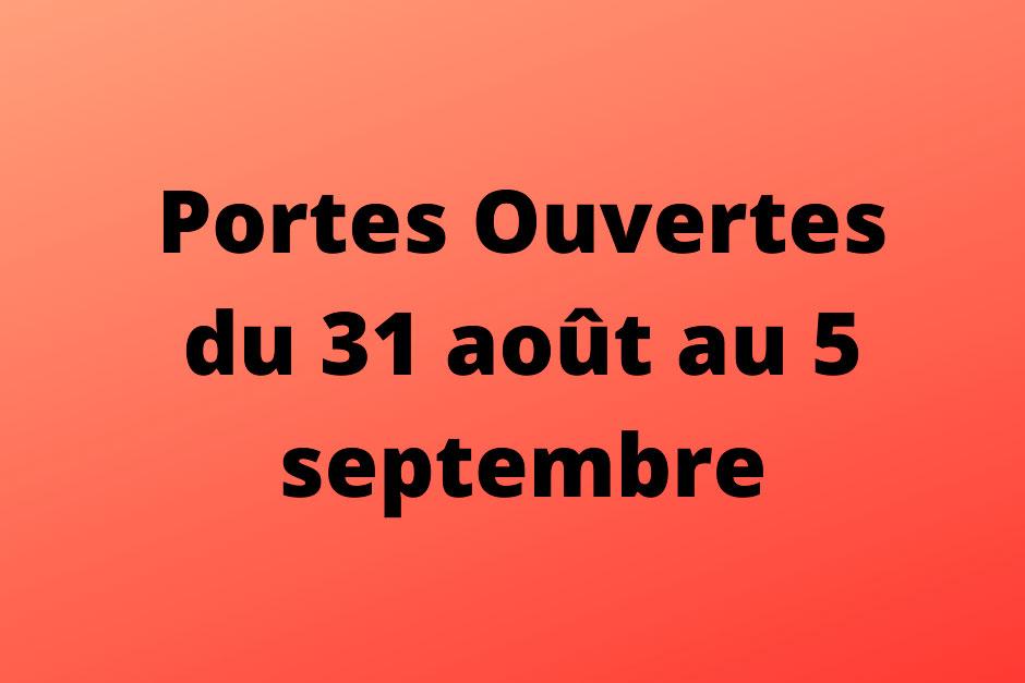 Portes overtes du 31 aout au 5 septembre